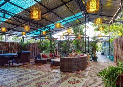 lounge and dining area at Danyasa Yoga Retreat in Costa Rica