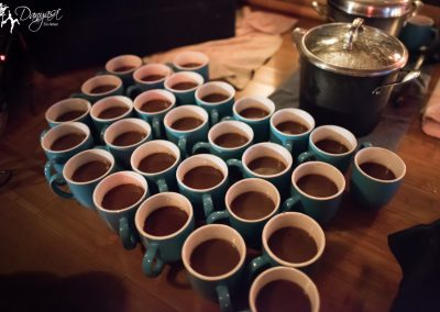 cups of cacao elixir ready for ceremonial drinking