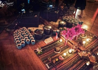 altar and cacao elixir in cups
