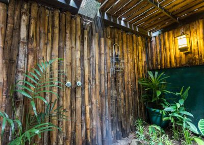 Enjoy a hot shower in our luscious outdoor jungle showers at Danyasa Eco Retreat in Costa Rica