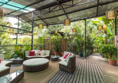 Spacious common areas at Danyasa Eco Retreat for lounging, reading, and taking in the beautiful nature of Costa Rica